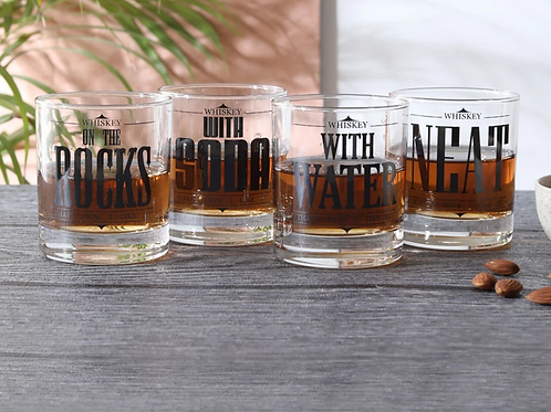"""Rock Neat Soda Water"" whiskey glasses (set of 4)"