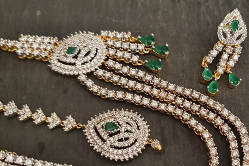 CZ diamond necklace set with maang tikka