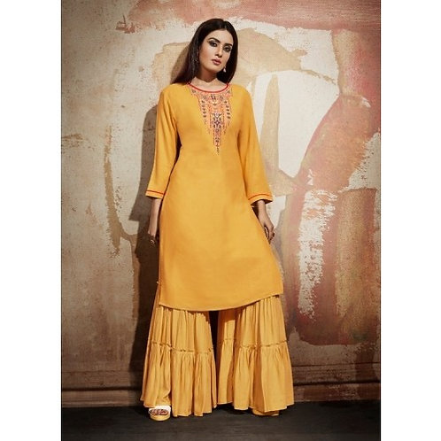 Golden Yellow kurti with bottom (Size 40)