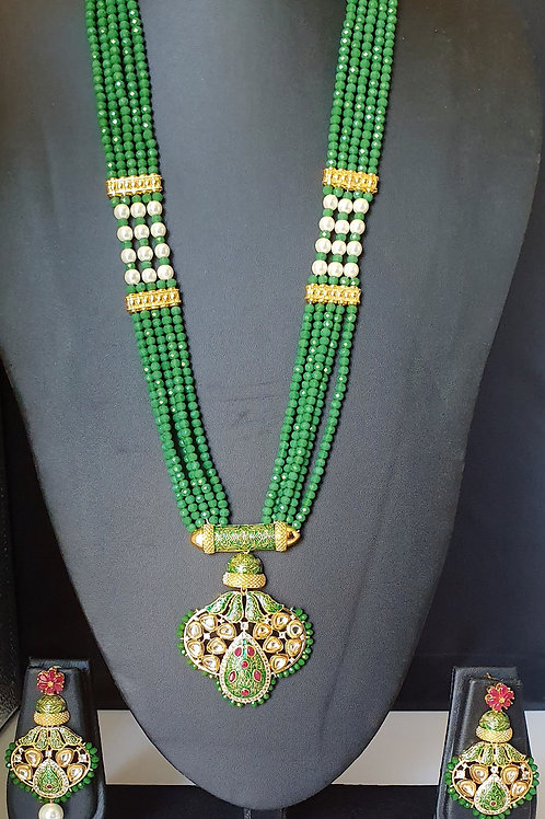 AD Kundan long necklace with Green beads and White Pearls