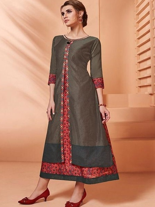 Brown Grey and Red kurti (Size : 41)