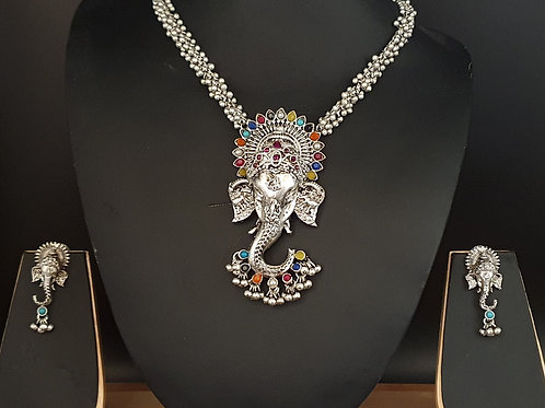 Lord Ganesha Necklace with earring