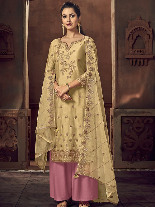 Golden color Semi Stitched Suite with Pink bottom