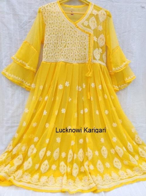 Chikankari Flair kurta with bell sleeves - Size 40