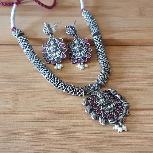 Oxidised silver Laxmi necklace