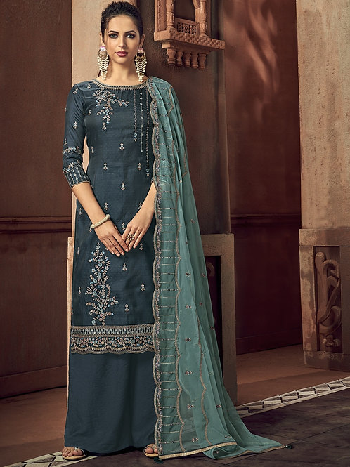 Prussian Blue color Semi Stitched Suite with Teal dupatta