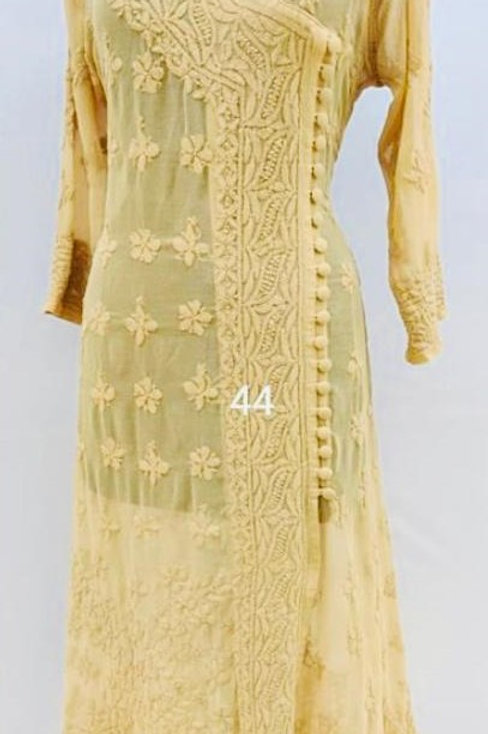 Lucknowi Karigari's - Angarakha style Chikankari Kurti
