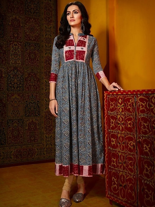 Air Force Blue color Kurti with Red design (Size : 40)