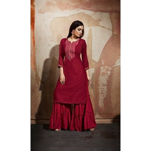 Maroon kurti with bottom (Size : 40)