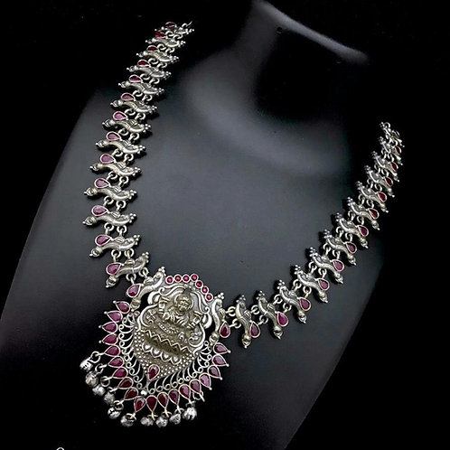Oxidised silver Goddess Laxmi short necklace with kemp stones