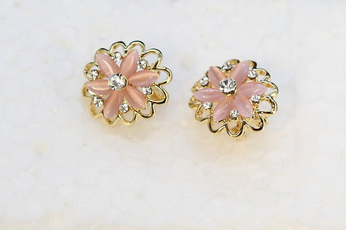 Pink Chalcedoney Stone and CZ diamond studs