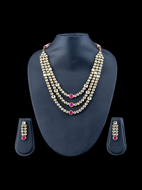 Kundan - 3 Layered necklace with round rubies