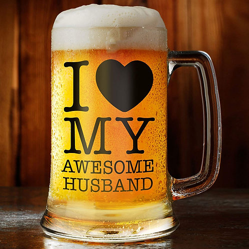 I Love My Awesome Husband beer mug