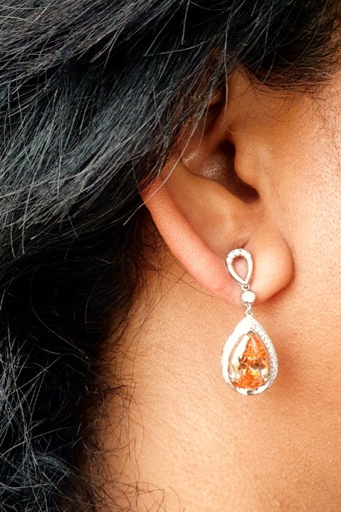 Semi precious Citrine stone and CZ diamond earrings