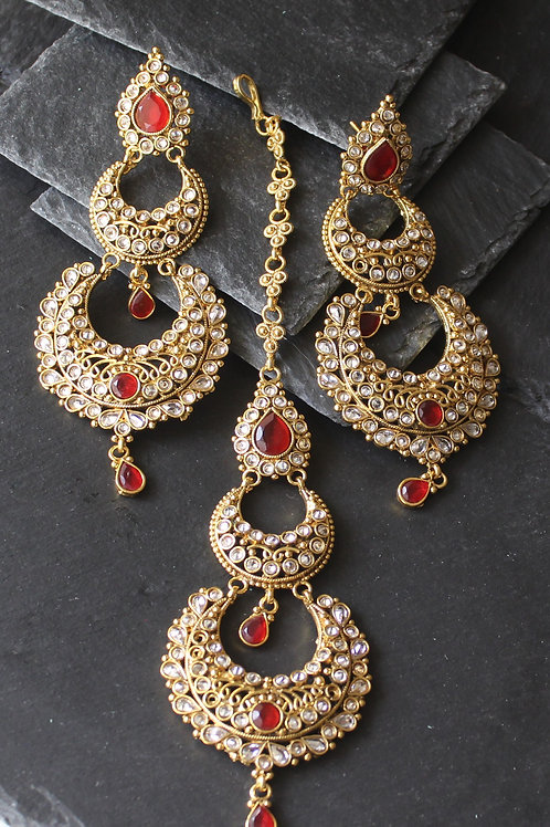 Maang tikka / Pasa set in kundan - Red
