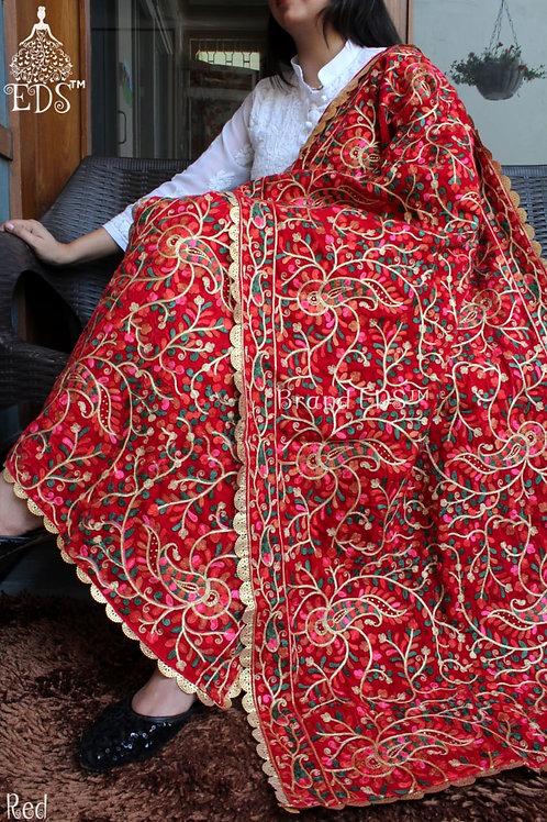 Velvet stoll (Red with Zari)