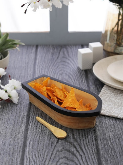 Snack boat platter set of 2 with spoons