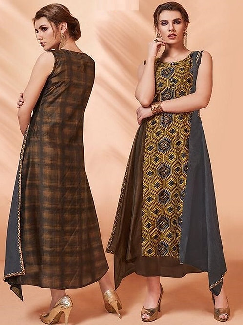 Chocolate Brown and Grey kurti (Size : 41)
