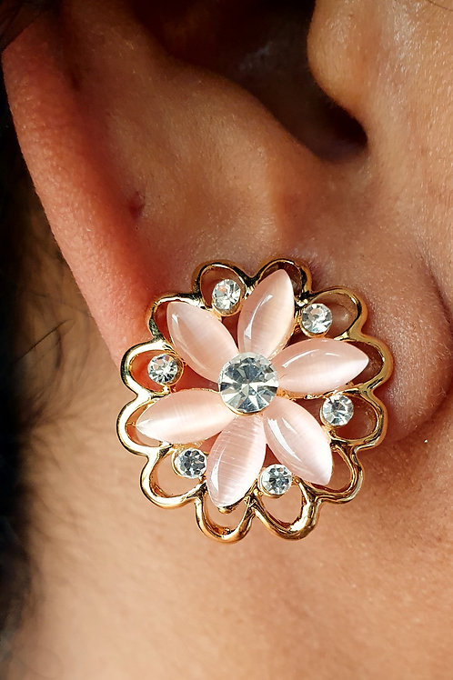 Pink Chalcedoney Stone and CZ diamond studs