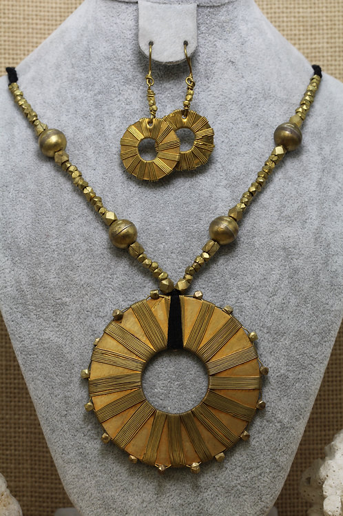 Vintage finish brass necklace