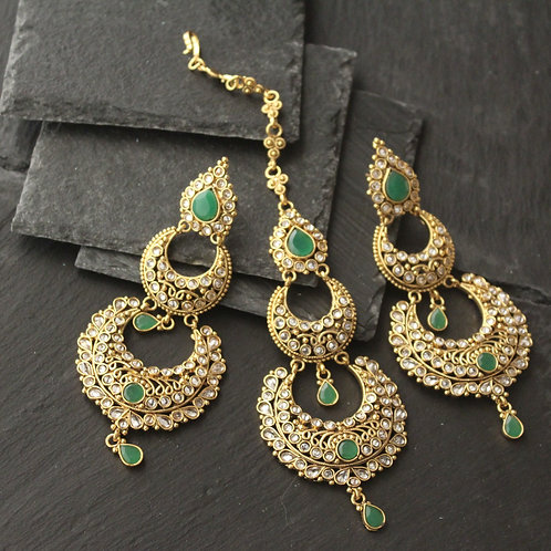 Maang tikka / Pasa set in kundan -Green