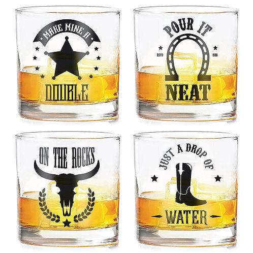 """Double Neat Rocks Water"" whiskey glasses (set of 4)"