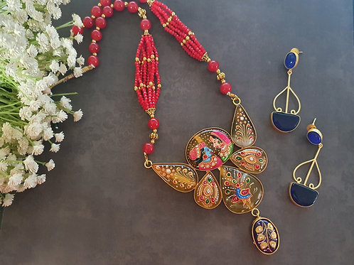 Handpainted stone necklace with Tanjore Painting
