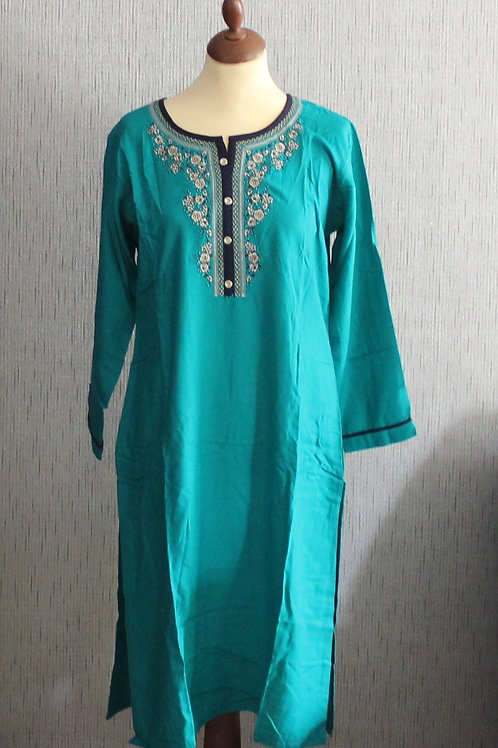 Teal kurti with Blue bottom (Size 40)