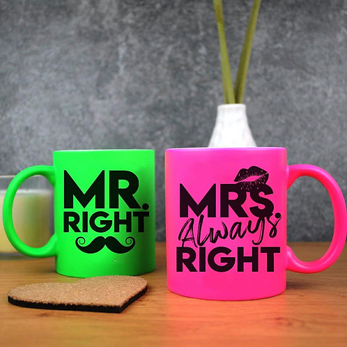 Neon Mugs - Mr and Mrs Right