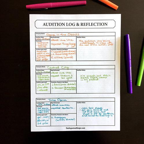 Audition Log & Reflection Sheet