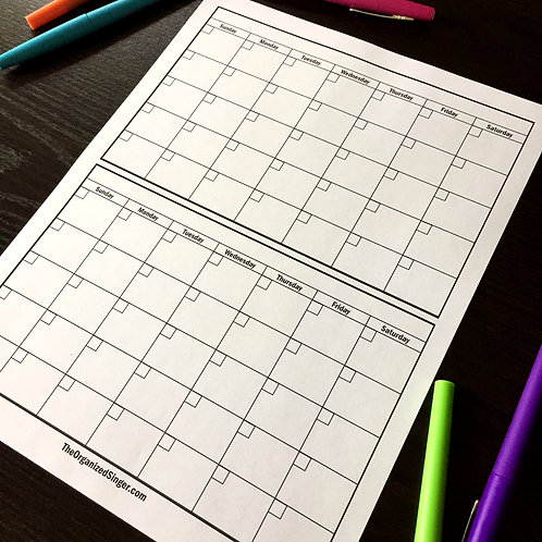 Blank Double-Month Calendar Page