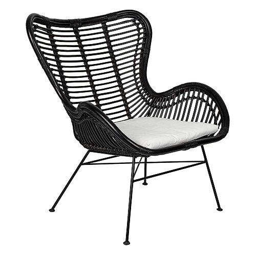 Wallace Black Rattan Chair