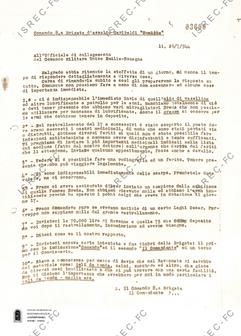 Lettera all'Ufficiale di collegamento del Comando Militare Unico Emilia-Romagna