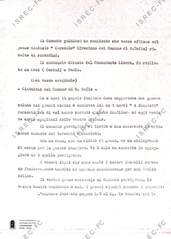 """Testo di un manifesto affisso a Corniolo dal Comando dell'8° Brigata Garibaldi """"Romagna"""""""