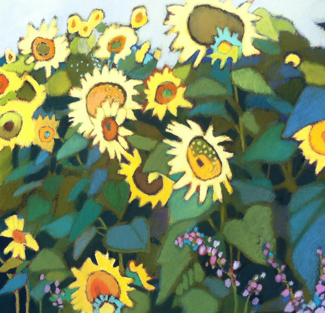 CoolSunflowersWarmGreen18x18.JPG