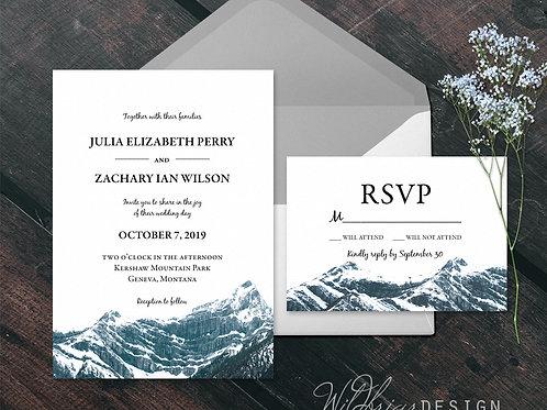 Snowy Mountain Wedding Invitation