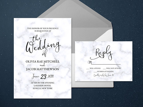 Classic Marble Wedding Invitation