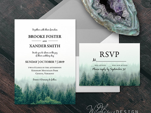 Misty Pines Wedding Invitation