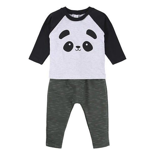 Conjunto Camiseta Estampa Panda + Mijão Em Moletom Menino