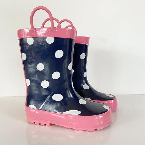 Joe Fresh Polka Dot Pull Toddler Rain Boots Sz 9