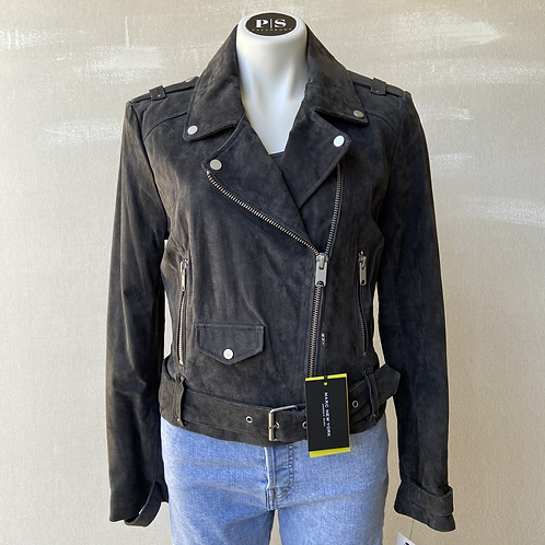 Marc New York Bowery Gray Suede Leather Moto Jacket