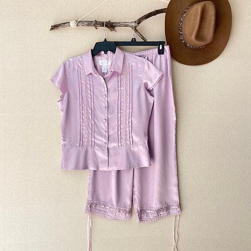 Cabernet Lace Trim Cropped Sleepwear Pajama Set Sz M
