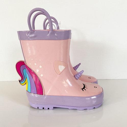 Joe Fresh Pink Unicorn Toddler Rain Boots Sz 7T
