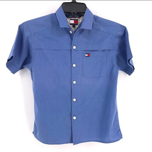 Tommy Hilfiger Blue Collared Short Sleeve Button Down Shirt