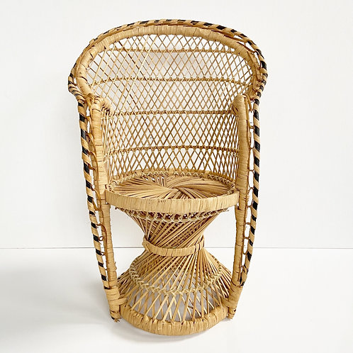Vintage Boho Wicker Peacock Chair Plant Stand