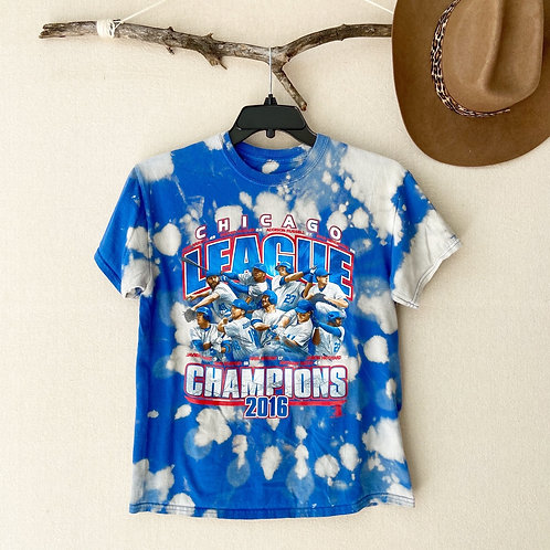 Chicago Cubs Baseball League Champions 2016 Reverse Tie-Dye T-Shirt Sz S