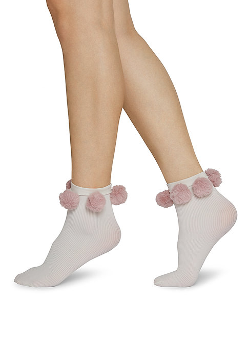 Sustainable Hosiery Swedish Stockings Ebba Pom Pom Socks Pink White Australia NZ