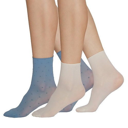 Sustainable Hosiery Swedish Stockings Judith Dot Socks Dusty Blue Australia