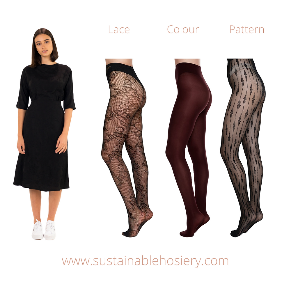 Sustainable Hosiery Lace Burgundy Pattern Tights