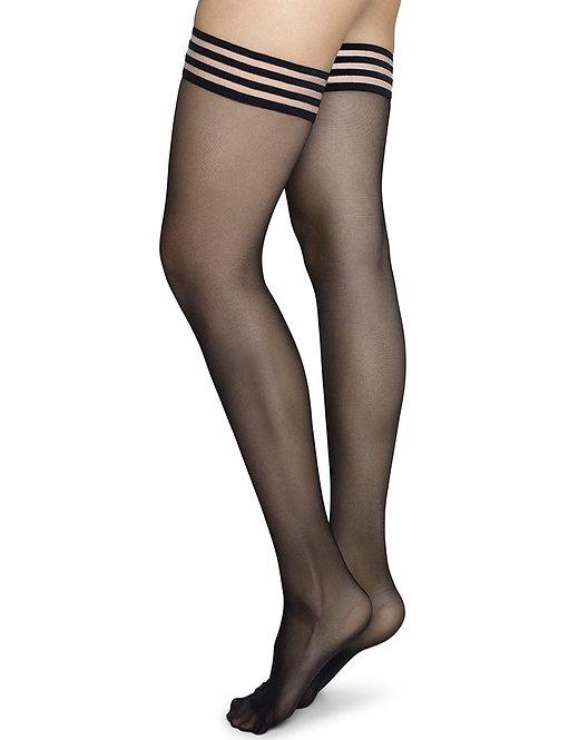Sustainable Hosiery Swedish Stockings Mira Stay-Ups Black Australia NZ